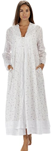 The 1 for U 100% Cotton Ladies Robe/Housecoat - Rosalind (Large, Lilac Rose)
