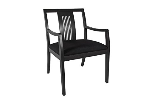 Slatted Back Chairs - Wood Deep Seat Side Chair - Office, Reception, Waiting Room - Slatted Back (Espresso Finish, Black Fabric)