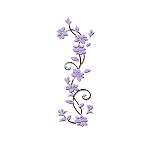 3D Acrylic Crystal Flower Wall Stickers Wall Decals Decor Removable DIY Art Murals for Living Room TV Background Kids Gilrs Rooms Bedroom Decoration (Purple)