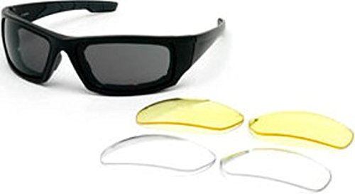 gles - Shiny Black Frame / Smoke Antifog lens, includes 2 extra (Body Specs Black Sunglasses)