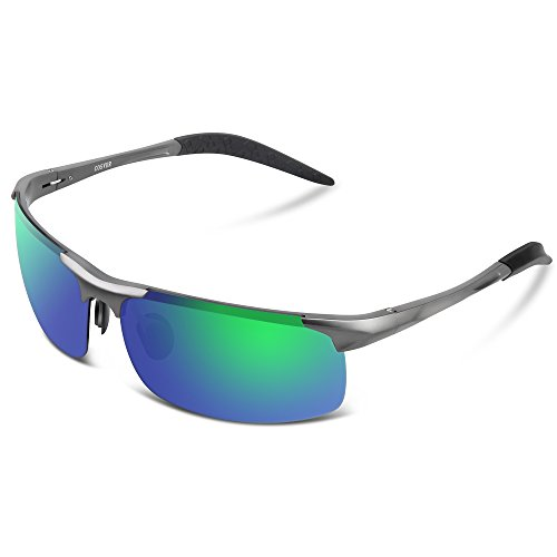 COSVER Men's Sports Style Polarized Sunglasses for Men Driving Cycling Running Fishing Golf Unbreakable Frame Metal Driver Glasses - For Sunglasses Men Driving Best