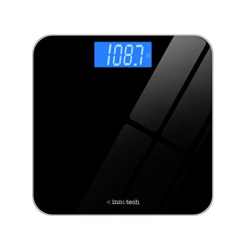 Innotech® Digital Bathroom Scale with Easy-to-Read Backlit LCD (Black) Black Dial Red Meter