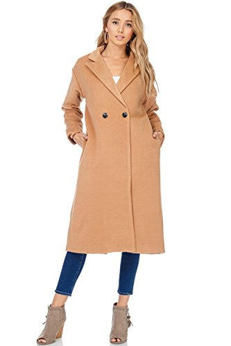 A+D Womens Casual Double Breasted Fall Longline Trench Coat (Camel, Medium) (Cream Spring Coat)