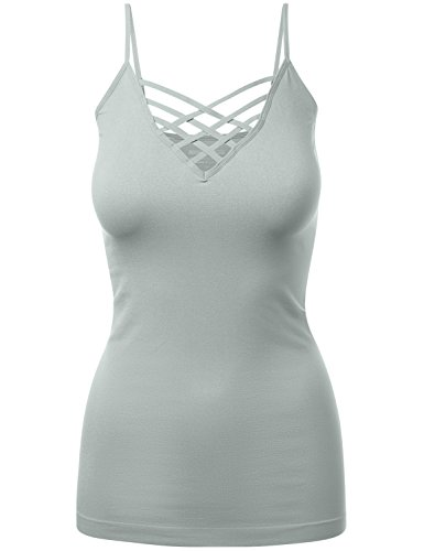 HATOPANTS Plus Size Lattice Front Cami Adjustable Bra Strap Tops Grey MI - Mi Macys