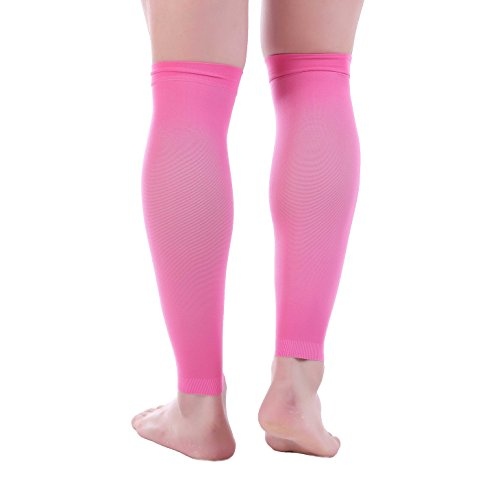 Muscle Fancy Dress (Premium Calf Compression Sleeve 1 Pair 20-30mmHg Strong Calf Support Multiple COLORS Graduated Pressure for Sports Running Muscle Recovery Shin Splints Varicose Veins Doc Miller (Pink, X-Large))