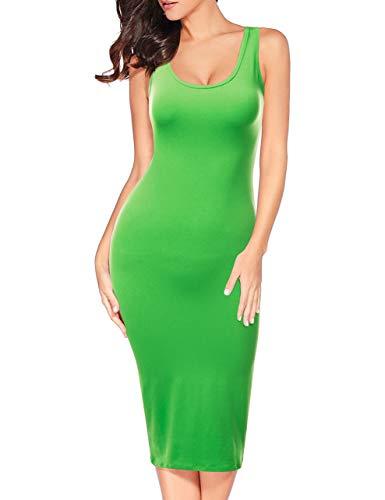 Doublju Womens Sans Manches Robe Moulante Réservoir Midi Avec Plus De Tailles Cwdmd132_green