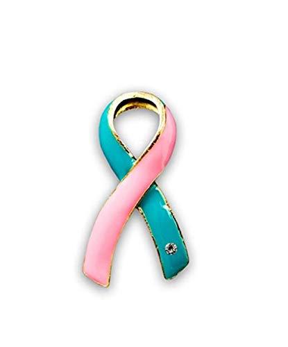 (Pink & Teal Ribbon Pin - Large Ribbon (Retail) - 100% high Quality)