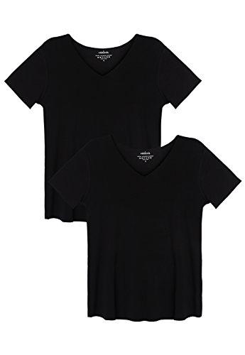 - Vislivin Womens T Shirts Short Sleeve Tops 2 Pack Black/Black L
