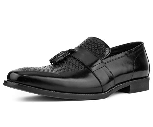 Asher Green Men's Genuine Leather Cross-Stitched Embossed Loafer with Tassel, Style AG3078 Black