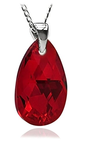 (Royal Crystals Sterling Silver Made with Swarovski Elements Red Teardrop Pendant Necklace, 18