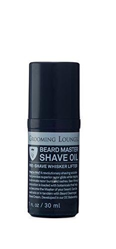 Grooming Lounge Beard Master Shave Oil – Amazing Razor Glide, Zero Razor Burn, See-Through, Pre-Shave Oil – 1 oz.