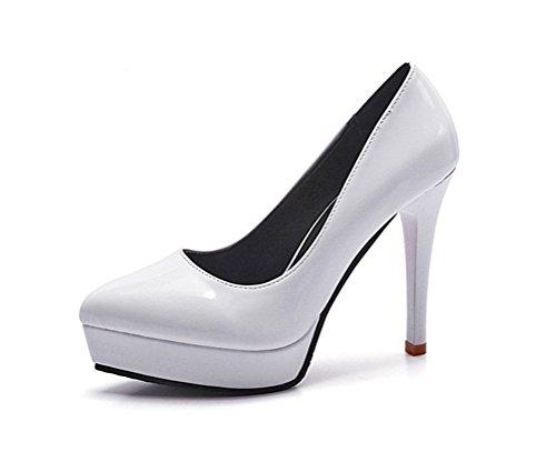 WeiYin Fashion Womens Platform Pumps Strappy Buckle Stiletto High Heels Shoes White 8 B(M)US