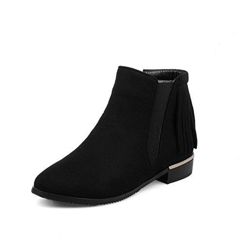 AgooLar Damen Niedriger Absatz Flaum Rein Ziehen auf Pumps Schuhe, Schwarz, 42