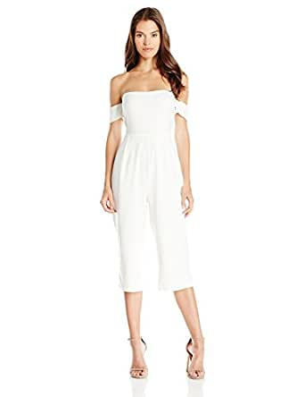 Lucca Couture Women's Ballerina Off Shoulder Cropped Jumpsuit, Off White, Medium