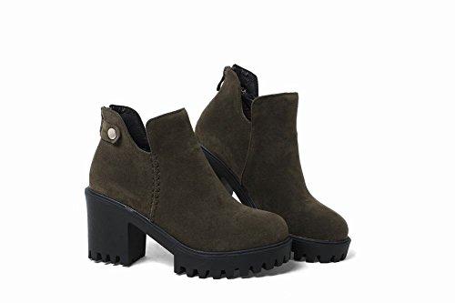 Charm Foot Womens Western Zipper Chunky Tacco Alto Stivaletti Verde