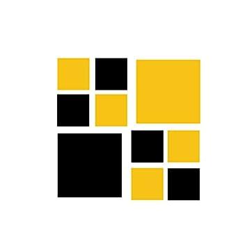 Amazoncom Set Of 50 Yellow Black Squares Vinyl Wall Decals