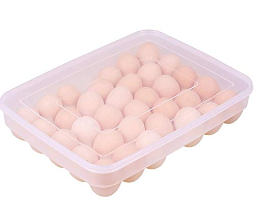 (Leoyoubei Large capacity Eggs Food Storage Organizer for Kitchen Restaurant Fridge Storage- Stackable Egg Holder with Lid,Clear plastic Decorative Crate (34 lattice egg holder))