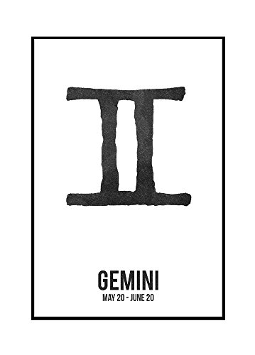 Gemini - Astrology Zodiac Symbol - Ink Drawing (16x24 Framed Gallery Wrapped Stretched Canvas) by Lantern Press