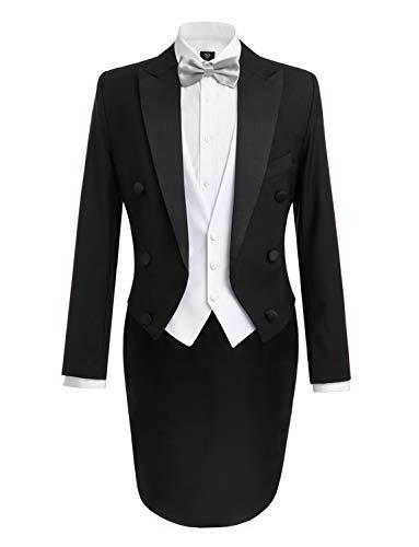 (Lilis Men's Fashion 3 Piece Black Tuxedo Tails Includes Tailcoat Vest& Formal Pants)