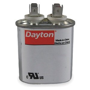 Dayton Oval Motor Run Capacitor, 45 Microfarad Rating, 440VAC Voltage - -