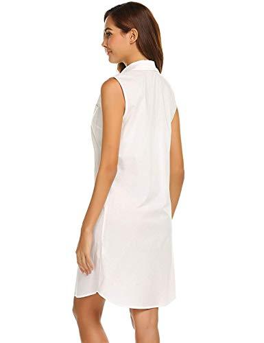 e8149d5e704 D été De Manches Rose Robe Blanc Femmes Casual Chemise Coton Avec Sans En  Décontractée Patte Nuit Longue Pour Dame Boutonnage fqTtwdP
