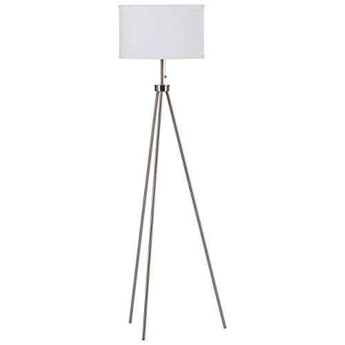 Rivet Mid Century Modern Tripod Décor Living Room Standing Floor Lamp With Light Bulb - 58 Inches, Steel
