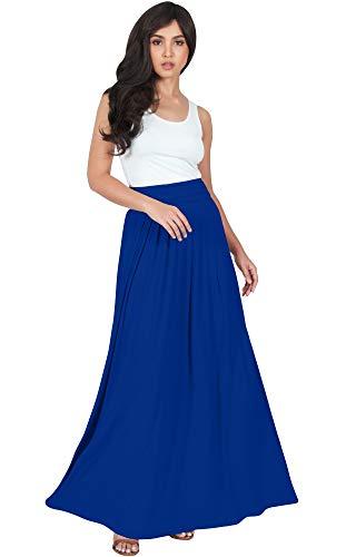 KOH KOH Womens Flowy Cute Modest High Waist Floor Length Pockets Casual Semi Formal Vintage Slimming Work Office Workwear Maxi Skirt Skirts, Cobalt Royal Blue M 8-10