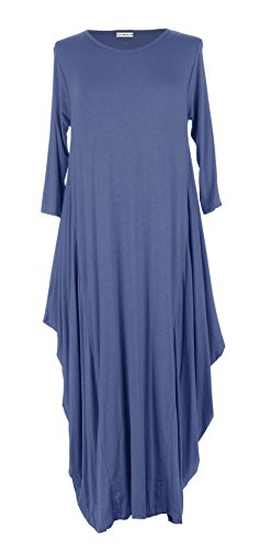 TEXTURE Ladies Women Italian Lagenlook Quirky 3/4 Sleeve Plain Viscose Jersey Tulip Long Midi Dress One Size UK 12-16 (One Size, Denim Blue)