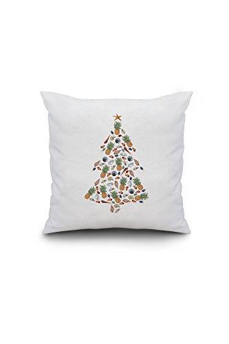 Tropical Christmas Tree - Holiday (16x16 Spun Polyester Pillow, Custom - Tree Pottery Pillow Christmas Barn