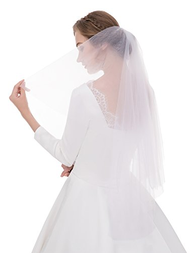 Sunny zeyu Women's Simple Tulle Bridal Veil Short Wedding Veil 2layers With comb - White Sunnies