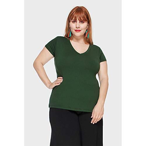 Camiseta Decote V Plus Size Verde Escuro-48/50