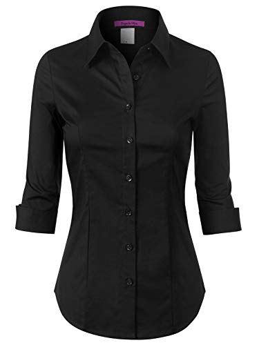 (Design by Olivia Women's 3/4 Sleeve Stretchy Button Down Collar Office Formal Casual Blouse Shirts Top Black M)