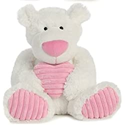 """White Soft Teddy Bear with Pink Heart 12"""" Plush Valentine's Day Gift"""