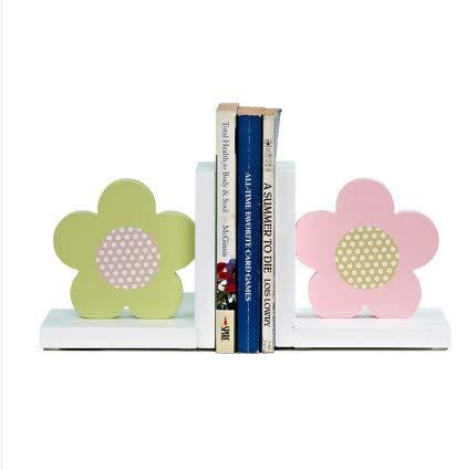 Wood Nursery Room Decorative Bookends Pink Flower/Guitar/AZ/Cupcake Bookends Baby Kids Gift Idea (Pink Blue Flower)