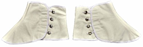OvedcRay Roaring 20'S White Canvas Costume Spats Gangster W/ Snap Victorian Old West from OvedcRay Clothing Accessories