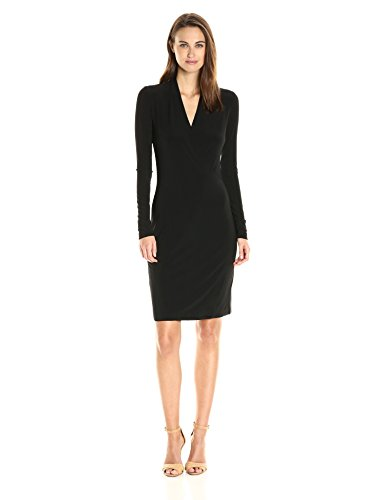 Norma Kamali Women's Long Sleeve Modern Side Drape Dress to Knee Solid, Black, XS