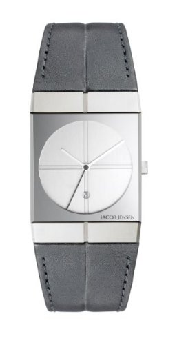 Jacob Jensen 232 Icon Series Leather Band White Dial Men's Watch
