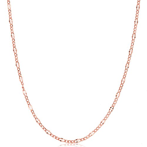 14k Gold Figaro Link Necklace - 14k Rose Gold Figaro Link Chain Necklace (18 inch)