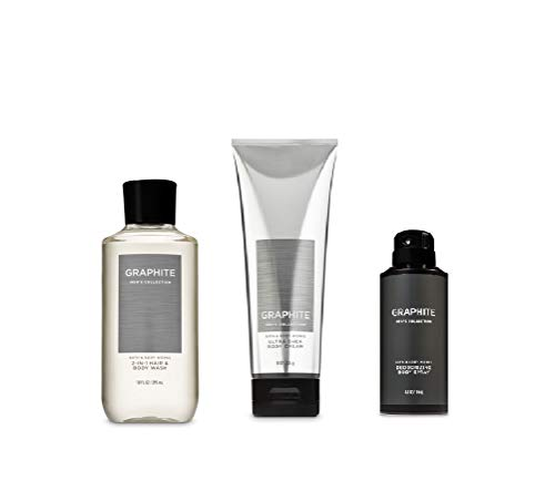 Bath and Body Works Graphite (2019 Edition) 2-in-1 Hair + Body Wash, Ultra Shea Body Cream and Graphite Deodorizing Body ()