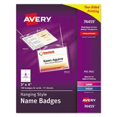 BADGE,NAME HANG 100BX,CLR - Avery Neck Elastic Hanging
