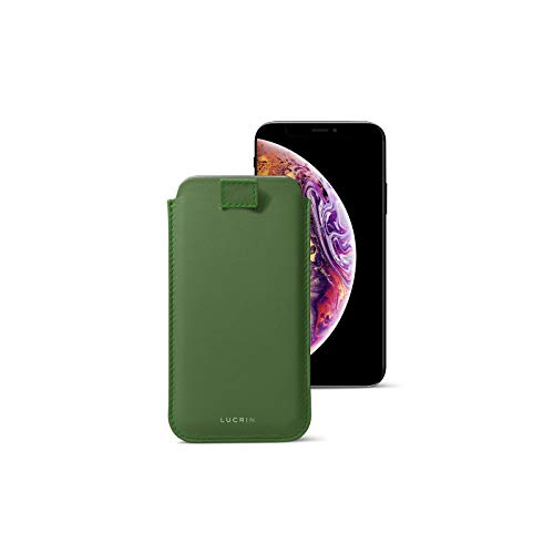 Lucrin - Pull-Up Strap Case Sleeve Cover Compatible with iPhone XS Max/ 8 Plus/ 7 Plus and Wireless Charging - Light Green - Genuine Leather