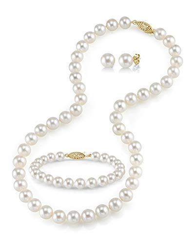 THE PEARL SOURCE 14K Gold 8-9mm Round White Freshwater Cultured Pearl Necklace, Bracelet & Earrings Set in 18