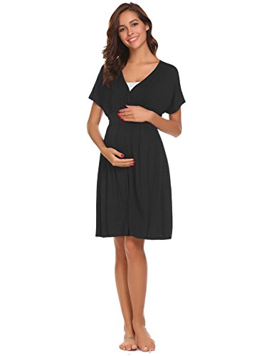 Ekouaer Womens Maternity Nursing Nightgown V Neck Short Sleeve Sleep Dress (Black, XL)