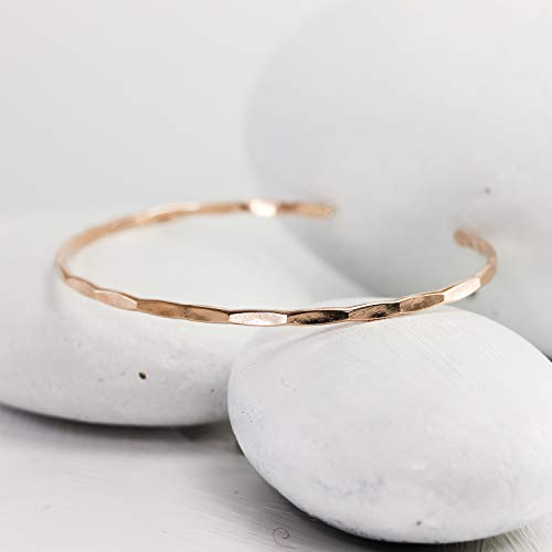 - Thin Hammered Rose Gold Cuff, handmade rose gold fill bangle
