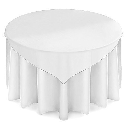 "Lanns Linens Organza Overlay Table Topper - 72"" Square Tablecloth Cover for Wedding, Reception or Party - White"