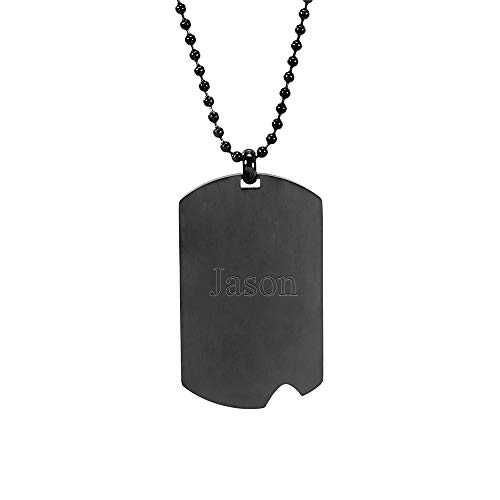 - Eve's Addiction Black Plate Stainless Steel Dog Tag with Notch Final Sale