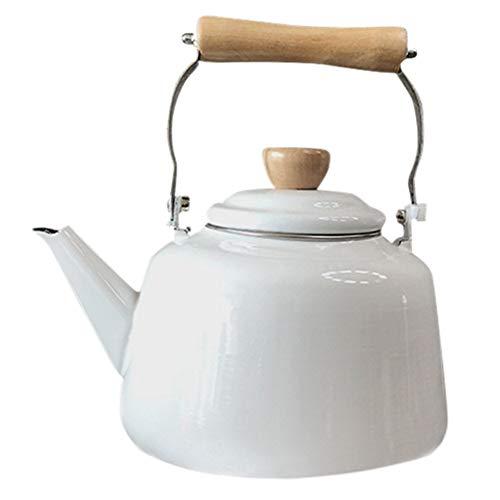 White Gas Cooker (Water Kettles Ceramic Teapot Enamel Cooker Applicable Gas Stove White Teapot 2.7L)