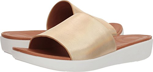 FitFlop Women's SOLA Slides-Iridescent Leather Sandal, Gold, 11 M US