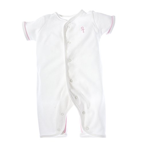 little pharo 100% Extra-Long Staple Egyptian Cotton Short-Sleeved Romper (ivory with pink piping, size 3-6 months)]()
