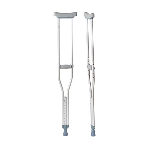 DMI Lightweight Push-Button Adjustable Aluminum Crutches with Pads, Tips and Handgrips Accessories, Youth 4'7'' to 5'2'', Silver and Gray, 8 Pairs of Crutches by Duro-Med (Image #2)